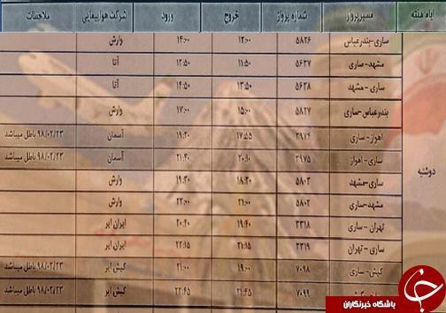 پرواز های دوشنبه 17 تیر ماه فرودگاه های مازندران