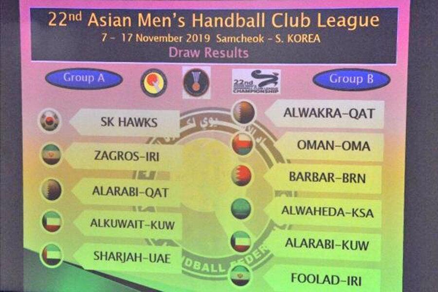 جام باشگاه های هندبال آسیا قرعه کشی شد