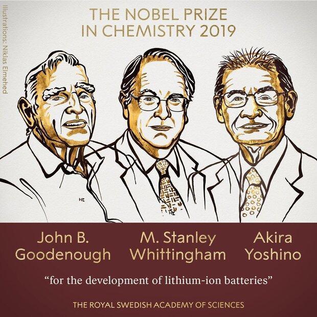 3 محقق برای توسعه باتریهای لیتیوم یونی برنده نوبل شیمی شدند