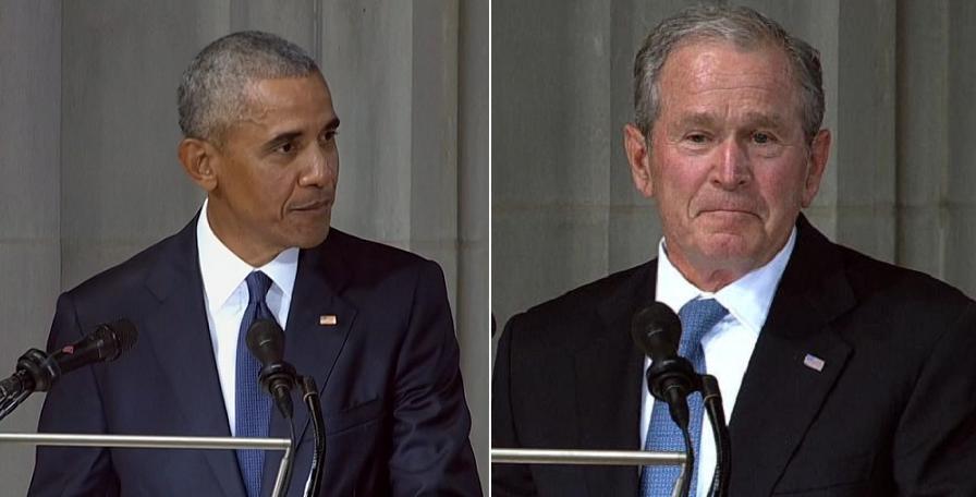 طعنه های بوش و اوباما به ترامپ در تشییع جنازه مک کین