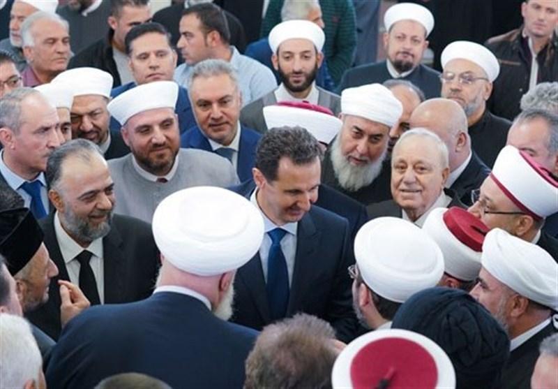 حضور اسد در مراسم میلاد پیامبر(ص) در دمشق