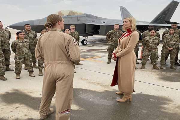 بازدید ایوانکا ترامپ از پایگاه نظامیان آمریکایی در قطر
