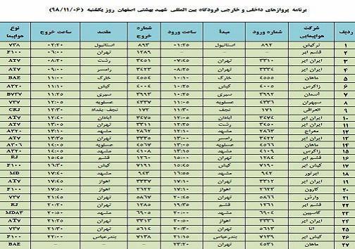 فهرست 27 پرواز فرودگاه شهید بهشتی اصفهان در ششم بهمن