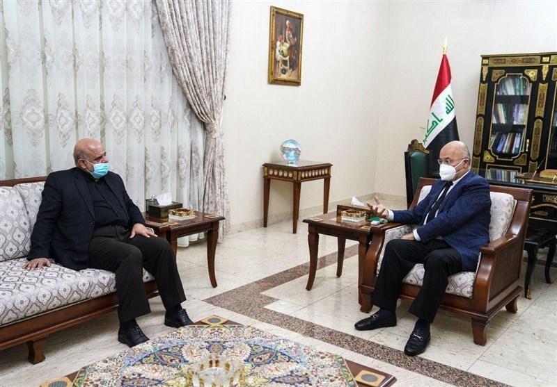 ملاقات برهم صالح با مسجدی در بغداد ، تاکید ایران بر ثبات و امنیت عراق