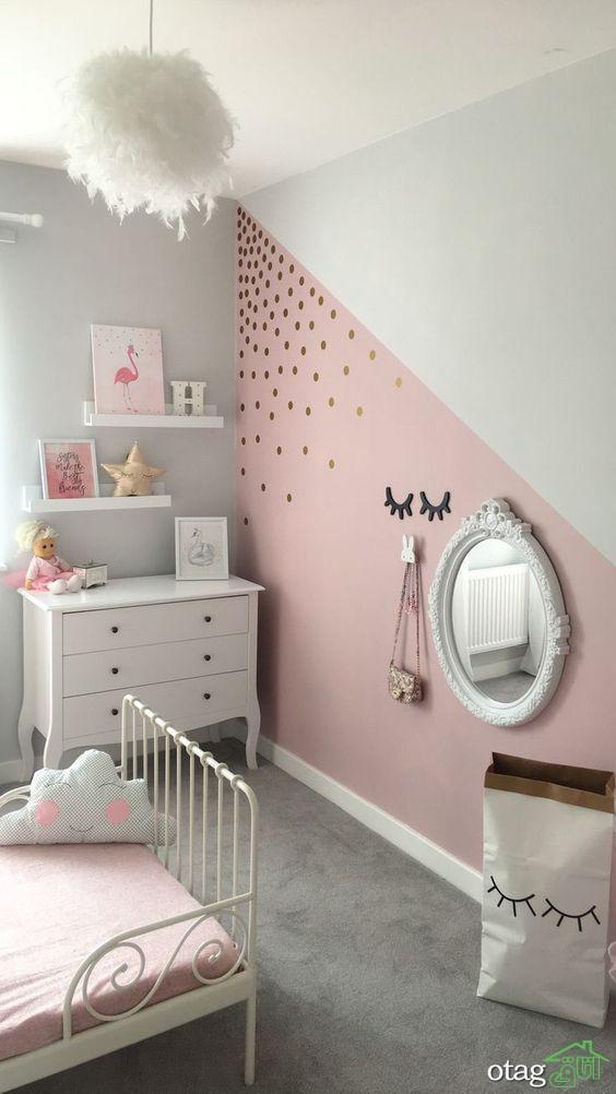 متفاوت ترین مدل های رنگ اتاق خواب دخترانه جدید و شیک