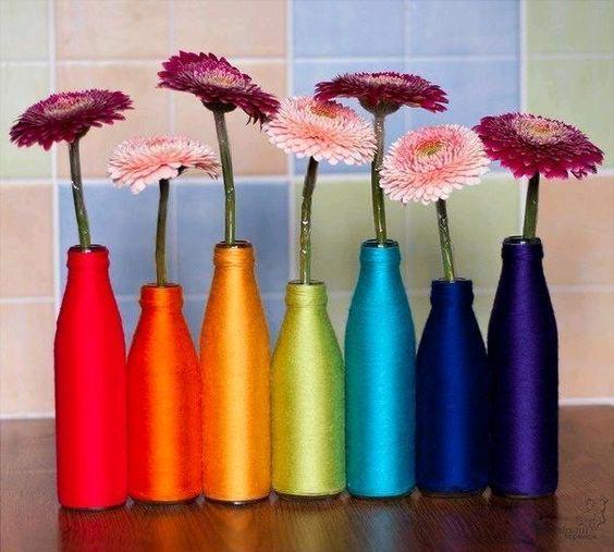 بطری های شیشه ای دور ریختنی را به گلدانی زیبا تبدیل کنید
